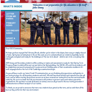 ISCS NEWSLETTER 26th FEBRUARY