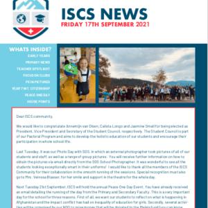 ISCS NEWSLETTER 17th September