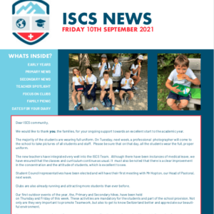 ISCS NEWSLETTER 10th September